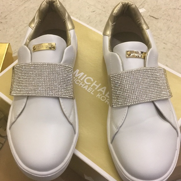 8ba50f89db5e Michael Kors Bling and gold white sneakers in box